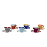 Tazzina caffè con piattino Mediterraneo in ceramica colorata