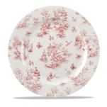 Piatto piano Linea Vintage Prints Toile Churchill in ceramica vetrificata rosso cm 30,5