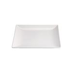 Piatto piano Ming II in stoneware bianco cm 18x18x1,7