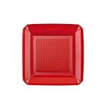 Piatto piano Dandy in plastica rosso cm 23x23