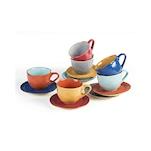 Tazza cappuccino con piatto Mediterraneo in ceramica colorata