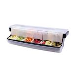 Porta condimenti First In 6 vaschette in plastica nera cm 51x16,5x16,5