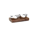 Coppette Drift Robert Welch in acciaio inox con vassoio in legno di noce