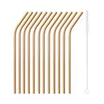 Cannuccia piegata in acciaio color rame cm 21x0,5