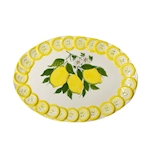 Vassoio ovale Limoni in ceramica dipinta a mano cm 47x33