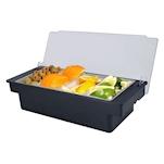 Porta condimenti 4 vaschette policarbonato 49x15x9cm nero