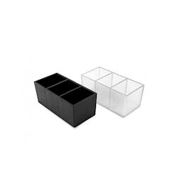 Portabustine banco bar plastica 16x9x5,5cm 3 scomparti trasparente