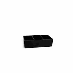 Portabustine banco bar plastica 13x6x5,5cm 3 scomparti nero