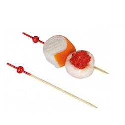 Stecchini in legno bamboo con perla rossa cm 9