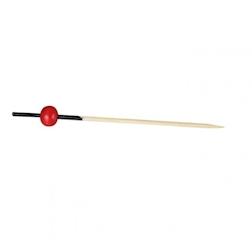 Stecchini in legno bamboo con una pallina rossa cm 7