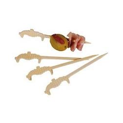 Stecchini in legno bamboo con cavalluccio marino cm 9