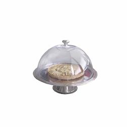 Alzata in acciaio inox con cupola trasparente cm 32