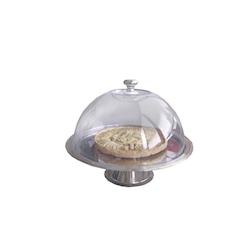 Alzata in acciaio inox con cupola trasparente cm 25