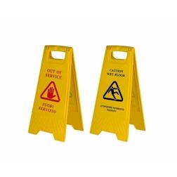 Cavalletto avviso attenzione pavimento bagnato e fuori servizio