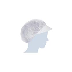 Cuffia plissè con visiera in tnt bianco