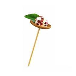 Mini piattino con stecchino sospeso in bamboo cm 10x4