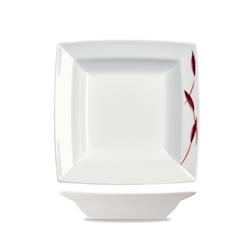 Piatto fondo quadrato pasta Linea Batik Churchill in porcellana cm 25,4