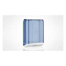 Dispenser per asciugamani interfogliati in plastica trasparente azzurra
