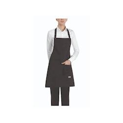 Grembiule con pettorina e tasca in poliestere e cotone nero cm 70x70