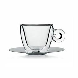 Tazza caffè e cappuccio termica Bormioli Luigi in vetro trasparente con piatto in acciaio inox cl 16,5