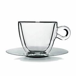 Tazza multiuso cappuccio Termica Bormioli Luigi in vetro trasparente con piatto in acciaio inox cl 30