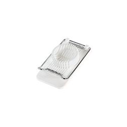 Taglia uovo a fetta in acciaio e plastica bianca