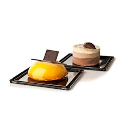 Vassoio base porta dessert monouso Picasso quadro in pet nero cm 12