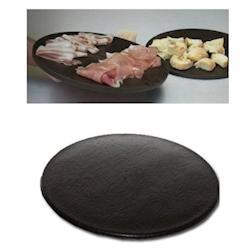 Tagliere a servire tondo MC polietilene 40cm effetto legno marrone
