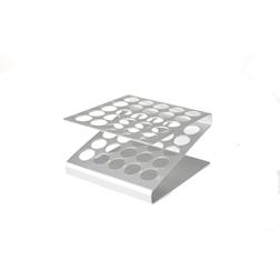 Vassoio provette 25 fori 100% Chef in alluminio cm 12x12x6