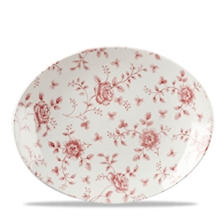 Piatto ovale Vintage Rose Chintz Churchill in porcellana rosso cm 31,7