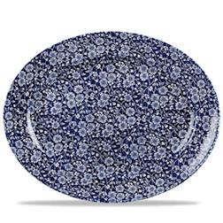 Piatto ovale Linea Vintage Prints Calico Churchill in ceramica vetrificata blu cm 36,5