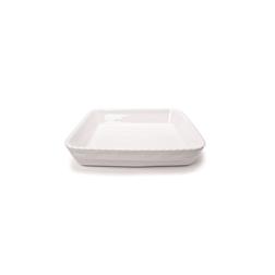 Pirofila quadrata Cordonata Impilabile in porcellana bianca cm 26x26x5,5
