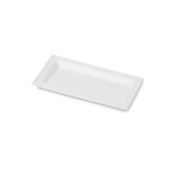 Piatto rettangolare biodegradabile monouso Karo in polpa di cellulosa cm 26x13