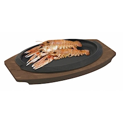 Piatto a servire in ghisa con vassoio di legno, ovale Ilsa ovale cm 28x19