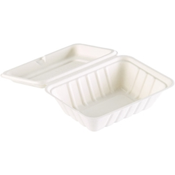 Contenitore asporto Duni con coperchio in polpa di cellulosa bianca cm 18,5x14,3