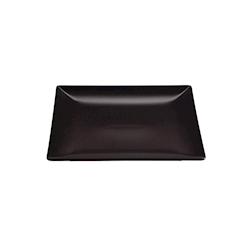Piatto piano Ming II in stoneware nero cm 26x26x2,5