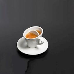 Tazza caffè con 2 scomparti per correzione in porcellana cl 4