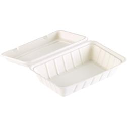 Contenitore asporto Duni con coperchio in polpa di cellulosa bianca cm 23,9x15,6