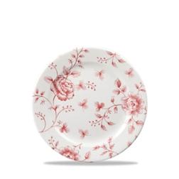 Piatto piano Linea Vintage Rose Chintz Churchill in ceramica vetrificata rosso cm 17
