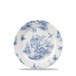 Piatto piano Linea Vintage Prints Toile Churchill in ceramica vetrificata blu cm 17
