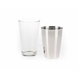 Boston in acciaio inox con bicchiere vetro cl 25