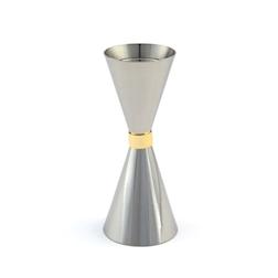 Jigger Mr Slim in acciaio inox con anello dorato cl 3-4,5
