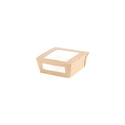 Contenitore con coperchio a finestra in carta brune cm 12x11x4,5