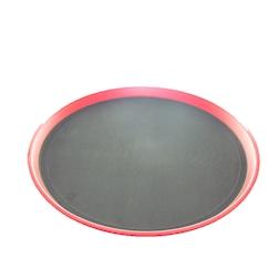 Vassoio tondo antiscivolo in plastica rossa cm 35