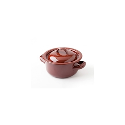 Casseruola Teja XL 100% Chef con coperchio e 2 manici in acciaio smaltato marrone cm 12