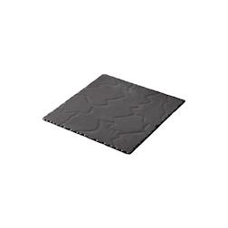 Piatto quadro Basalt Revol in porcellana nera cm 20x20