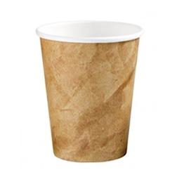 Bicchiere cappuccio in cartone colorato decoro kraft 25 cl