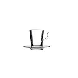 Tazza caffè con piatto Carrè in vetro cl 8