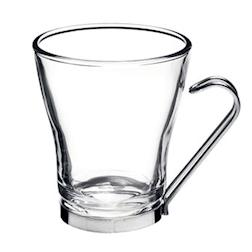 Tazza latte Oslo Bormioli Rocco con manico in acciaio inox in vetro cl 22