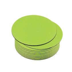 Sottobicchiere tondo in pelle rigenerata liscia verde cm 10